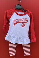 Wes and Willy Z Infant/Girl Raglan Set Cherry