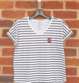 Chicka-D Ladies V-Neck Striped Tee