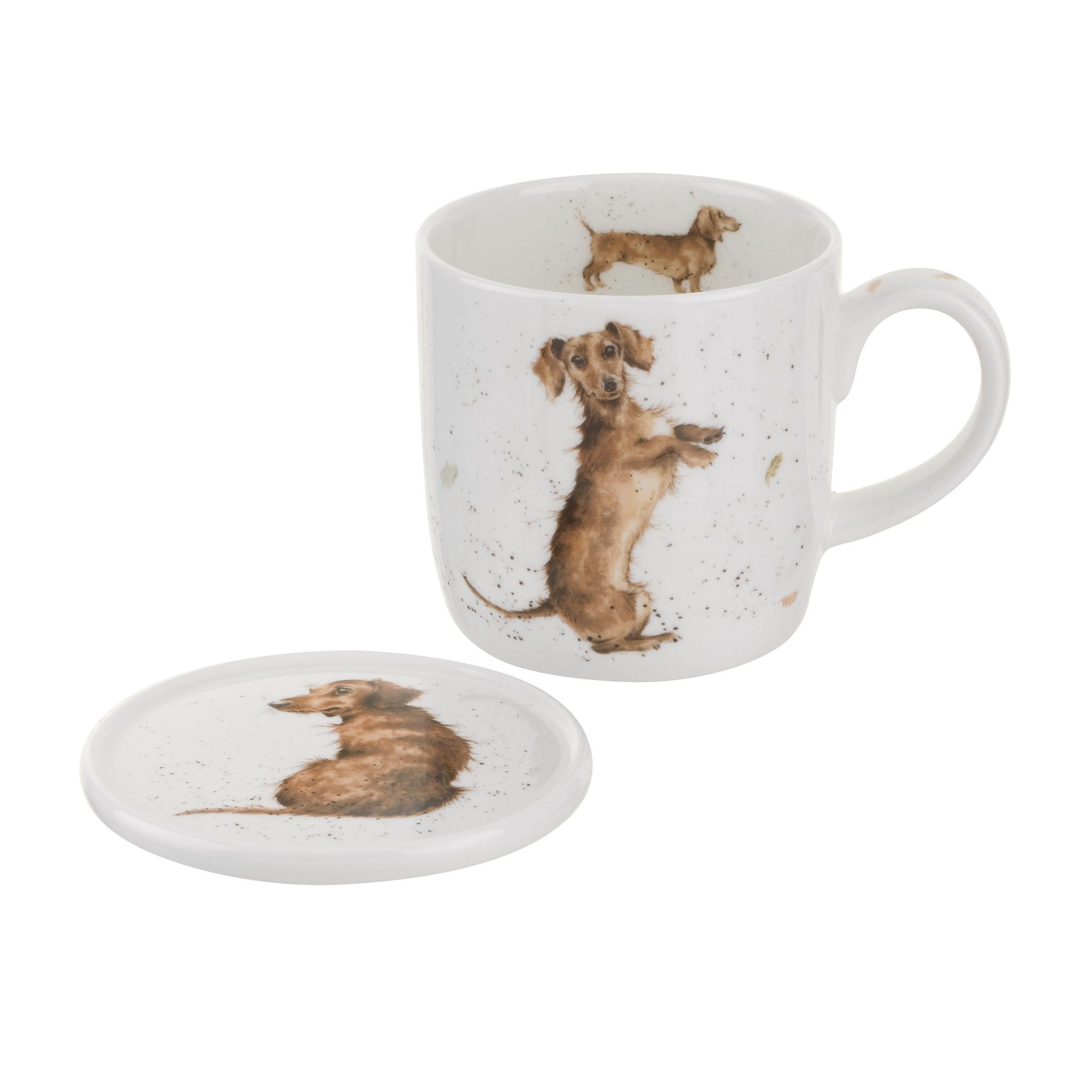 Wrendale Designs 'Sausage Dog' Mug & Coaster Set