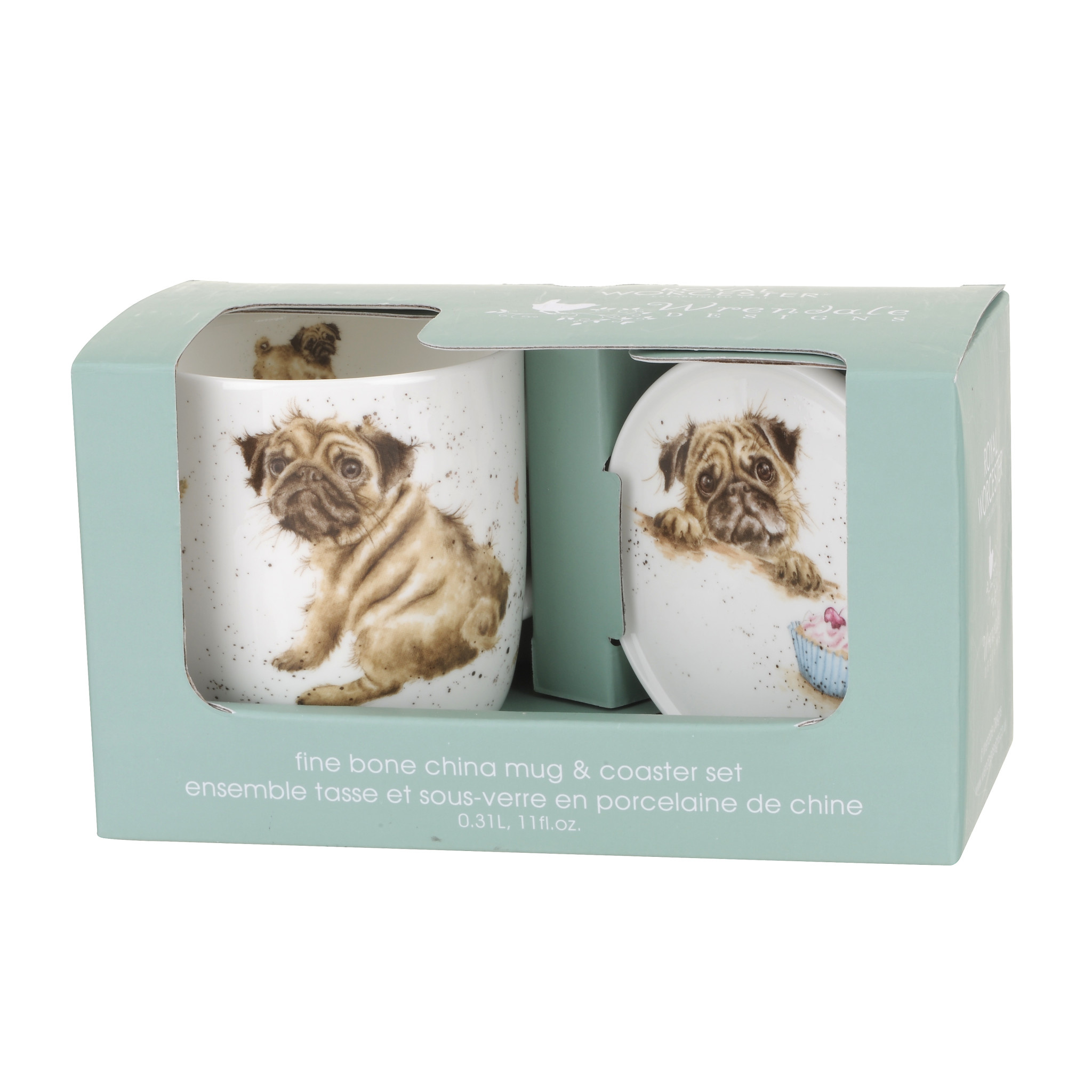 Wrendale Designs 'Pug Love' Mug & Coaster