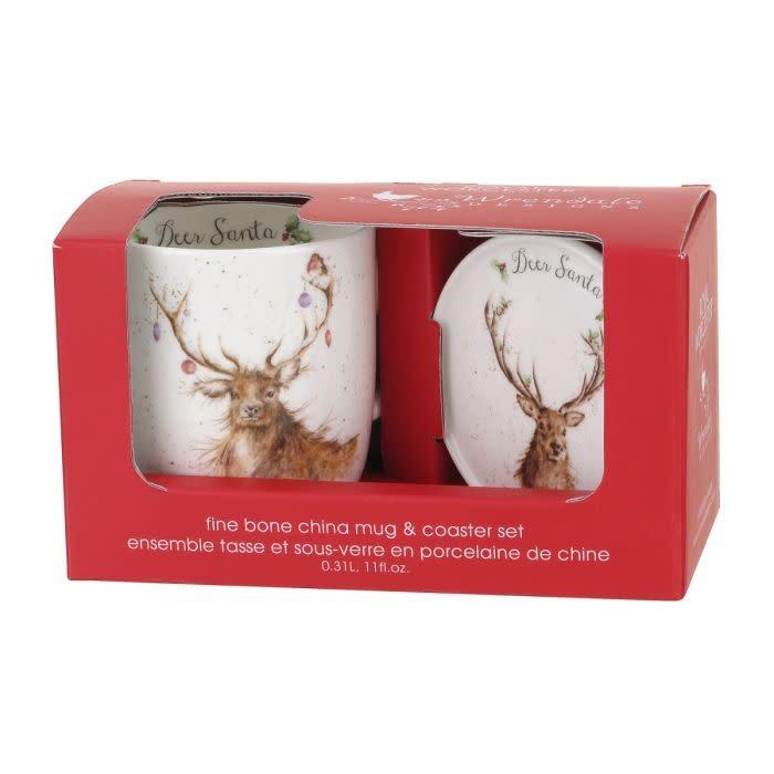 Wrendale Designs 'Deer Santa' Mug and Coaster
