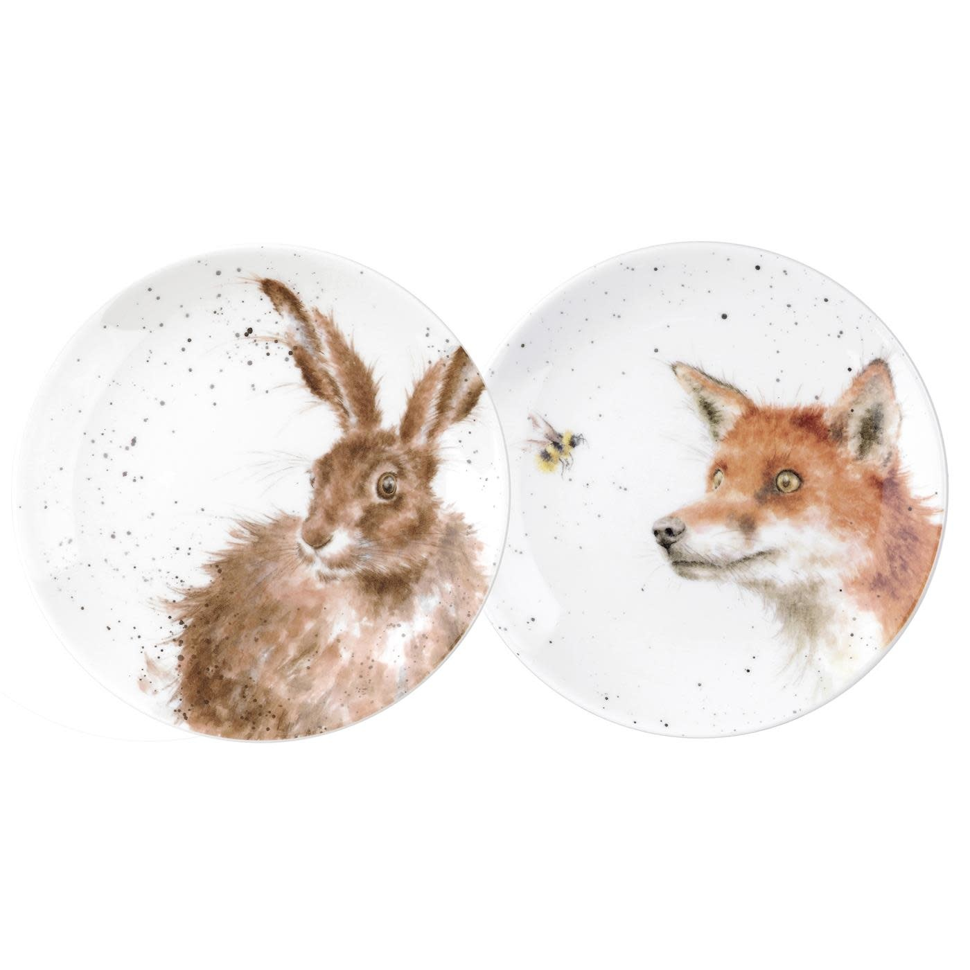 Wrendale Designs 'Fox & Hare' Coupe Plates - Set of 2