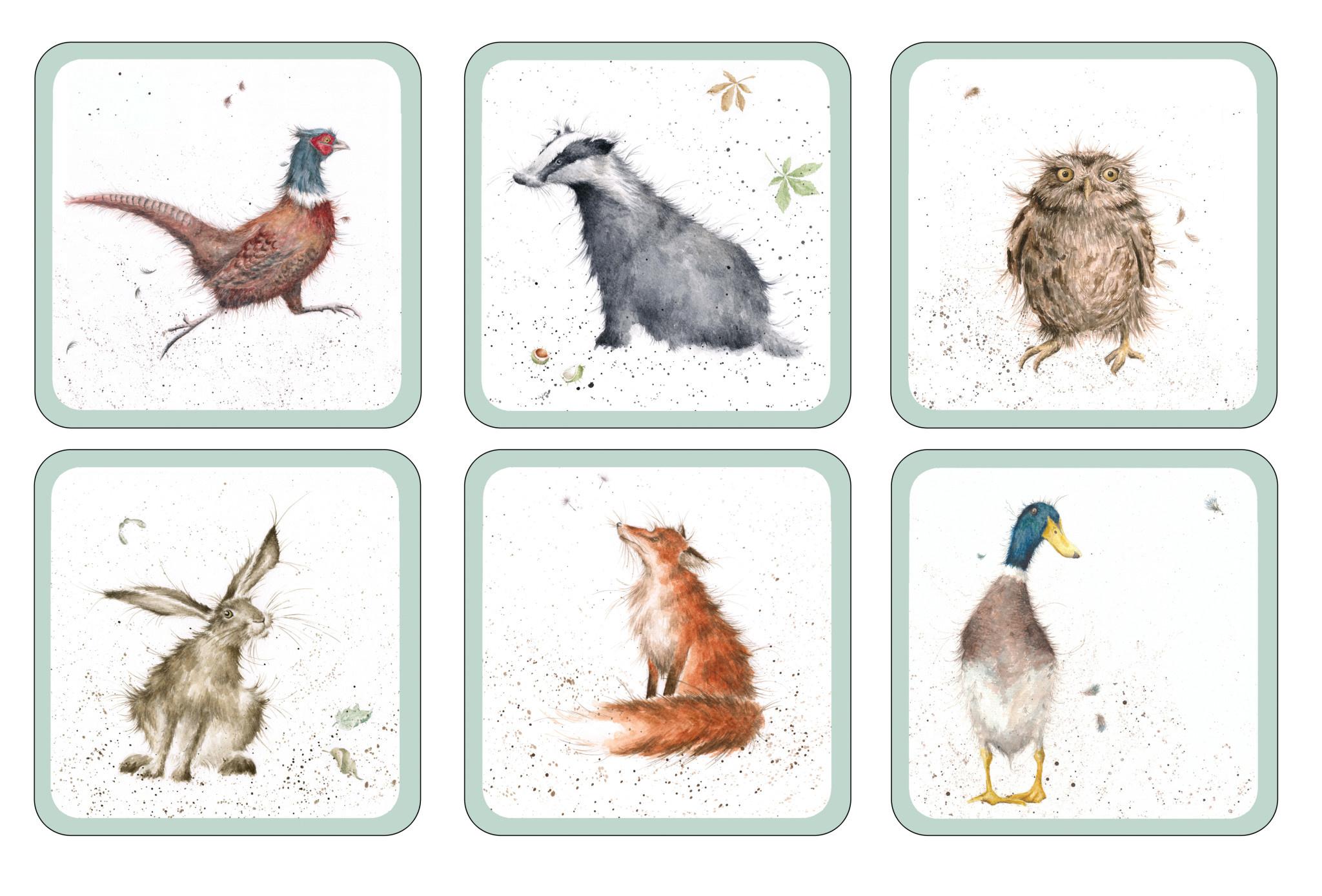 Wrendale Designs Square Animal Coasters - Set of 6