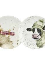 "Wrendale Designs 'Cow and Duck"" Coupe Plates -Set of 2"