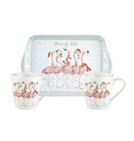 Wrendale Designs 'Flamingle Bells' Mug and Tray Set