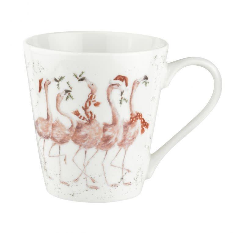 Wrendale Designs 'Flamingle Bells' Mug and Tray Set
