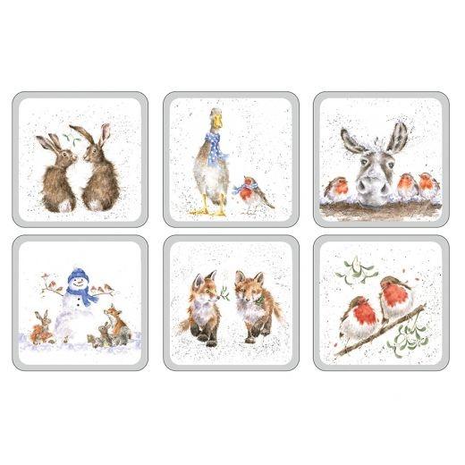 Wrendale Designs Christmas Coasters - Set of 6