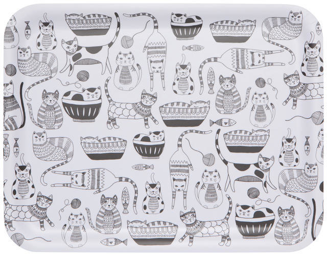 Now Designs Rectangle Tray - Purr Party 14""