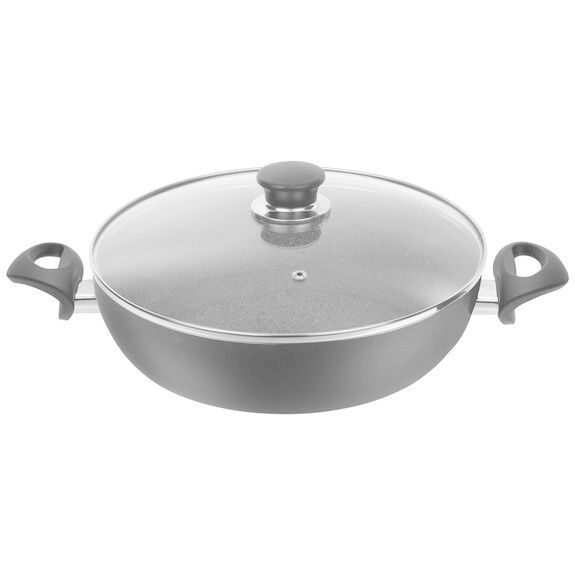 """BOLOGNA GRANITIUM 11"""" Round Double Handle Sauteuse Pan with Lid"""
