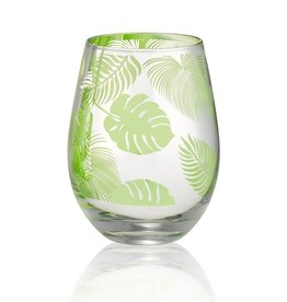 Tropical Leaves Stemless Glass - 16oz