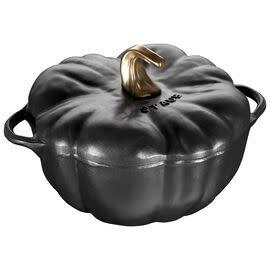 Staub 3.5L /3.7qt Cast Iron Pumpkin Cocotte  - Black