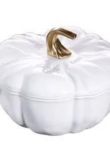Staub 3.5L /3.7qt Cast Iron Pumpkin Cocotte - White