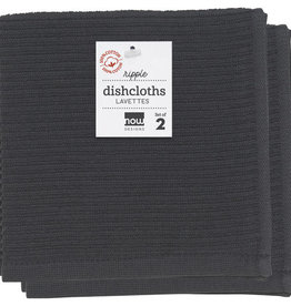 Now Designs Ripple Dish Cloths - Black S/2
