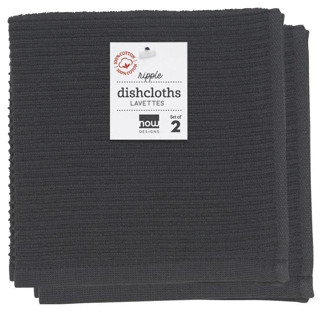 Now Designs Ripple Dish Cloths - Black S/2