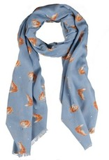 Wrendale Designs 'Artful Poacher' Cloudburst Blue Scarf