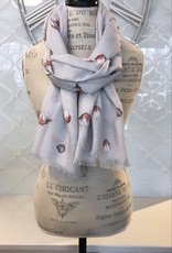 Wrendale Designs 'Jolly Robin' Grey Scarf