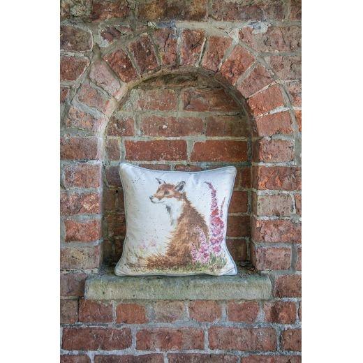 """Wrendale Designs 'Foxgloves' Fox Cushion - 16"""""""