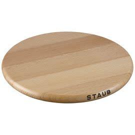"Staub 23cm/9"" Round Magnetic Wood Trivet"