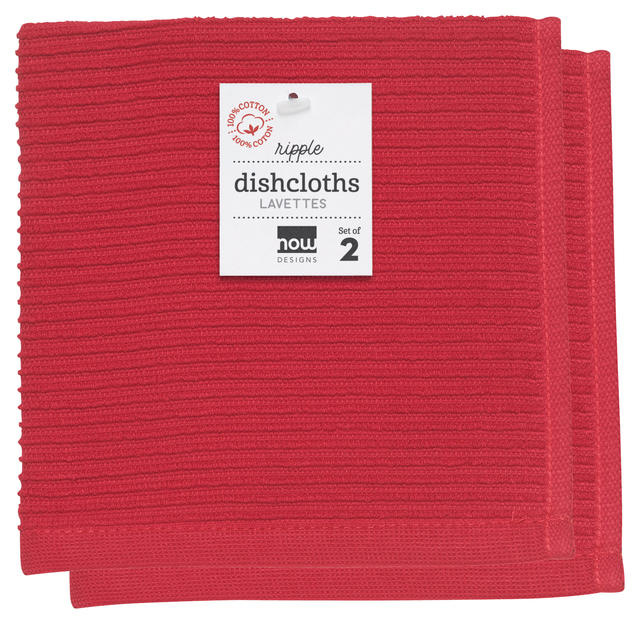 Now Designs Ripple Dishcloths - Red S/2