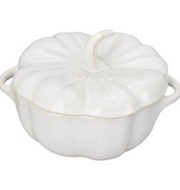 "Staub Ceramic Pumpkin Cocotte 0.7L/0.75qt - Ivory White  14.4cm/ 5.7"""