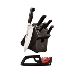 ZWILLING Four Star Knife Block Set 6pc w/4 Stage Sharpener