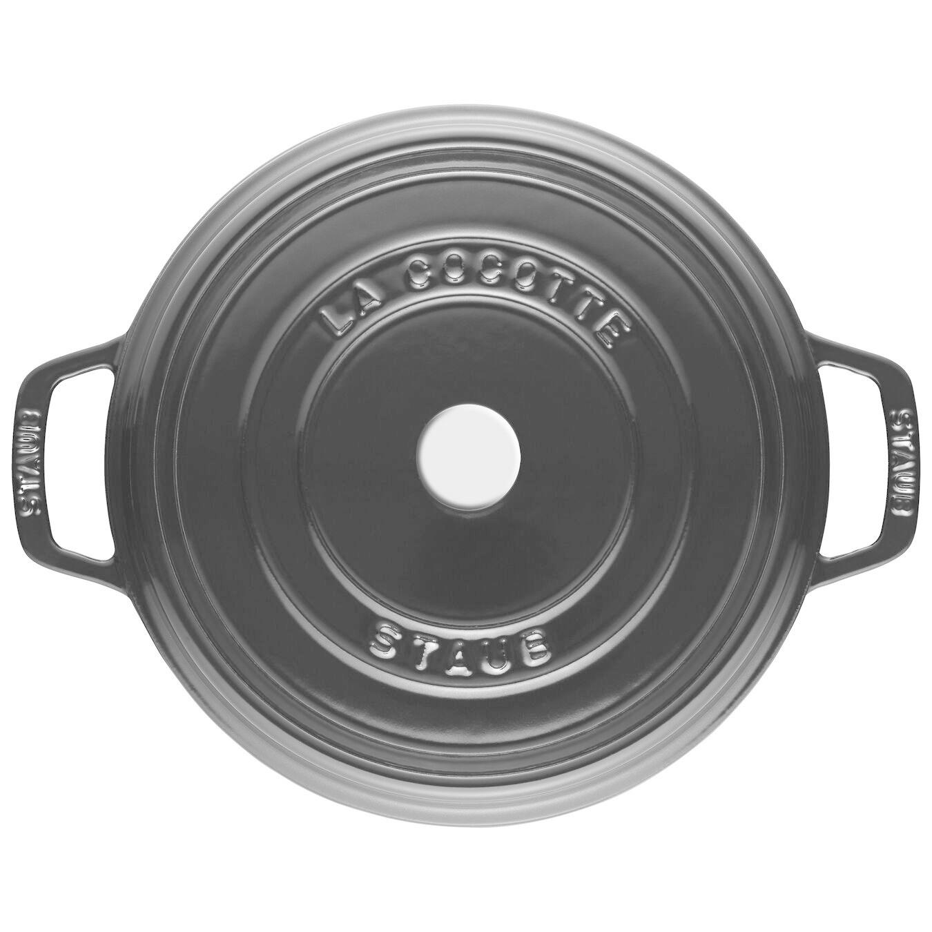 Staub 3.8L / 4qt Cast Iron Round Cocotte - Shiny Black