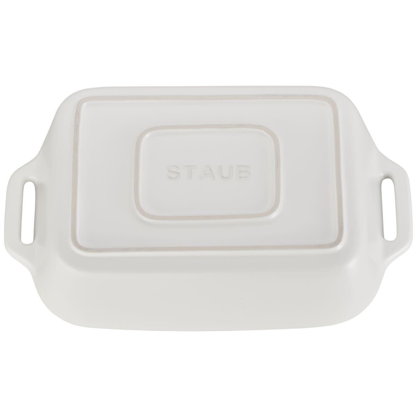 Staub Rectangular Dish Set 2pc Matte White