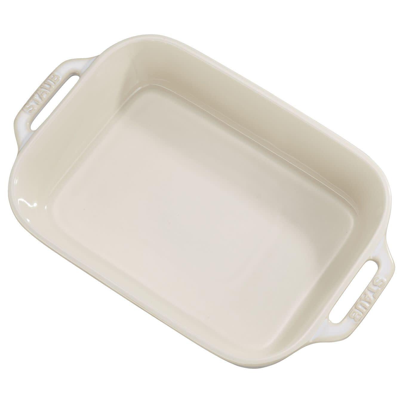"Staub Rectangular Baking Dish Rustic White  27x20cm /10.5""x7.5"""