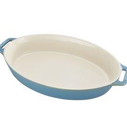 "Staub Oval Baking Dish  Rustic Turquoise 37x24cm /14.5""x9.5"""