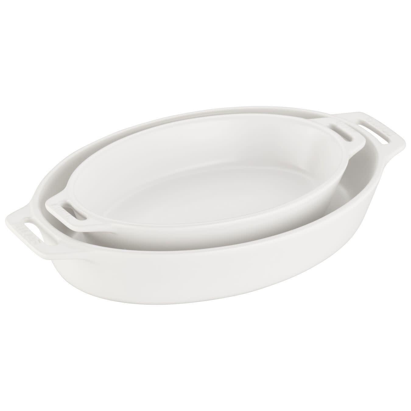 Staub Oval Dish Set 2pc Matte White