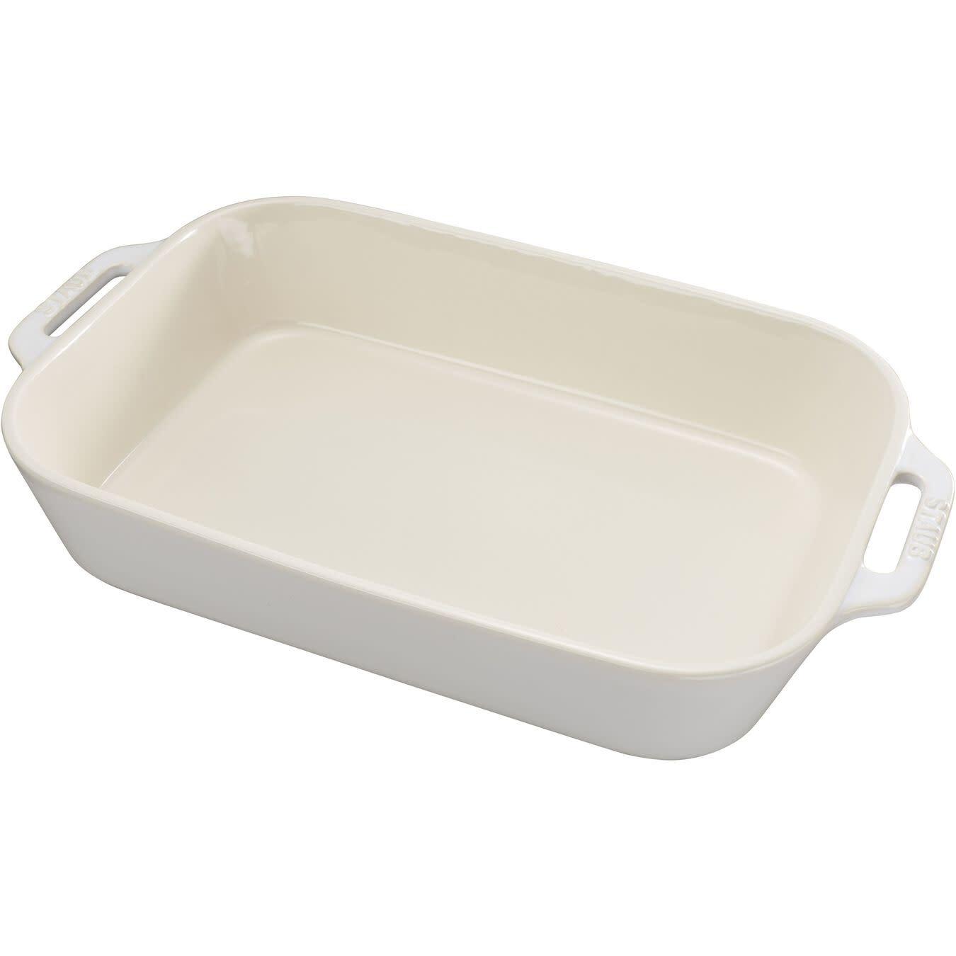 "Staub Rectangular Baking Dish Rustic White 34x24cm / 13""x9"""