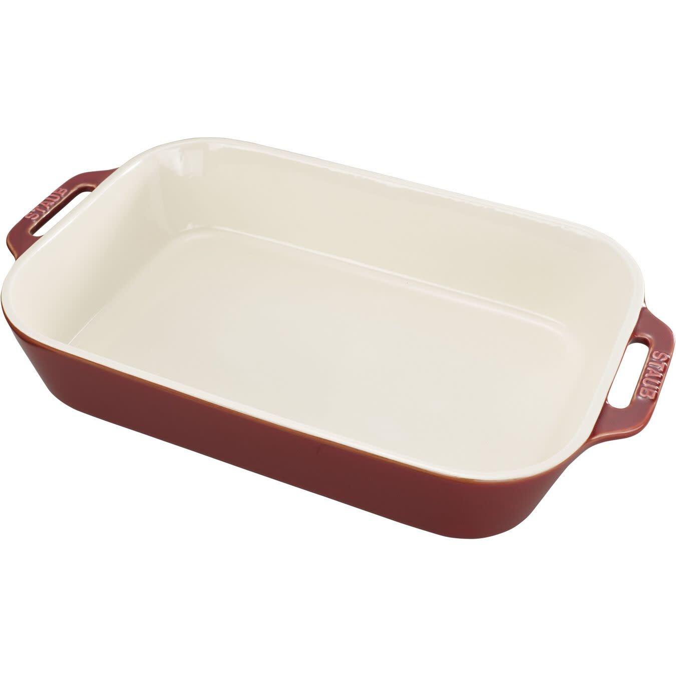 "Staub Rectangular Baking Dish Rustic Red 34x24cm / 13""x9"""