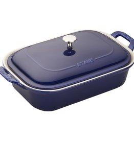 "Staub Rect Gratin Dish w/Lid Blue 40x24cm/15.7""x9.4"""