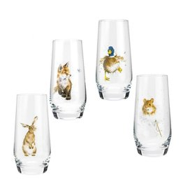 Wrendale Designs Assorted Country Animals Hi-Ball Glasses 19oz S/4