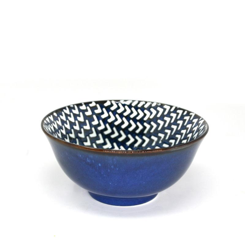 "Chevron Reactive Soup Bowl 16cm / 6.25""- Navy Blue"