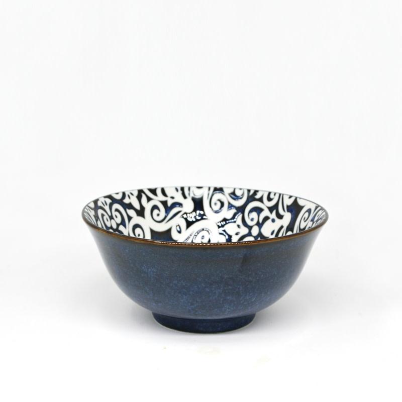 """6.25"""" Damask Reactive Soup Bowl - Navy Blue"""