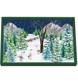 Christmas Snow Vanity Decoupage Tray - Wooden