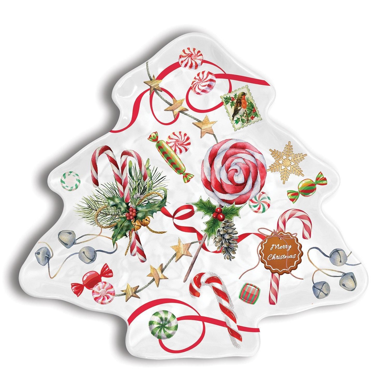 Peppermint Christmas Tree Plate  - Melamine Serveware