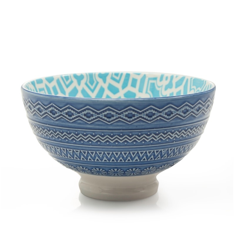 "Danesco Quilt Bowl 4.75""/11oz - Turquoise/Blue"