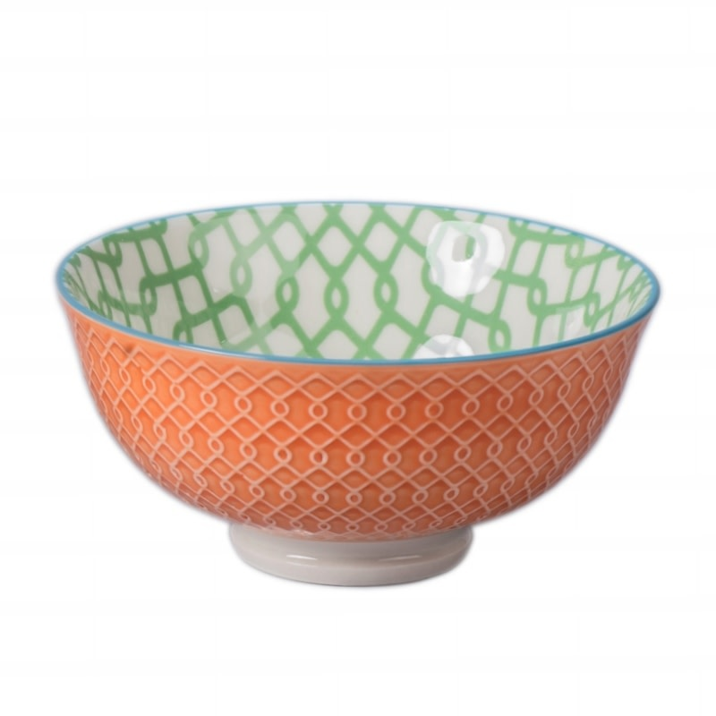 "Danesco Link Bowl 4.75""/11oz - Green/Orange"
