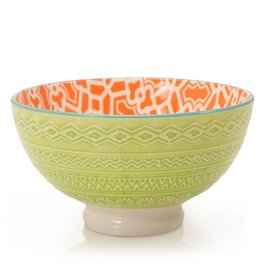 "Danesco Quilt Bowl 4.75""/11oz - Orange/Green"