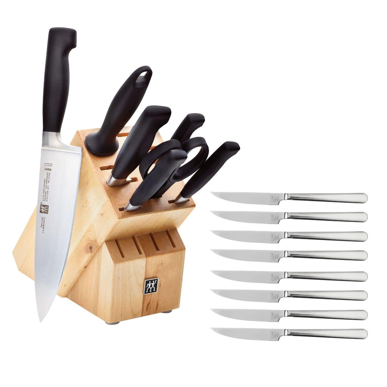 ZWILLING Four Star Knife Block Set 8pc wb/ 8 Steak Knives