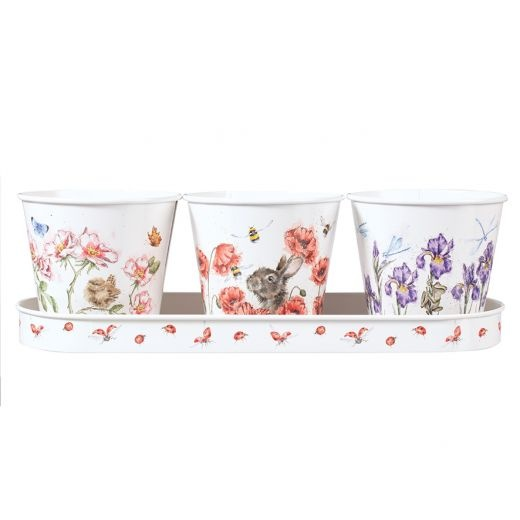 Wrendale Designs 'Floral' Set of 3 Herb Pots with Tray
