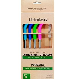 Set of 4 Stainless Steel Straws With Silicone Tip