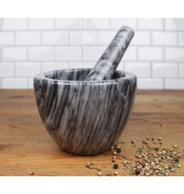 "Mortar & Pestle 3.5"" - 8oz Grey Marble"