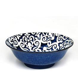 "Damask Reactive Serve Bowl 8""- Navy Blue"