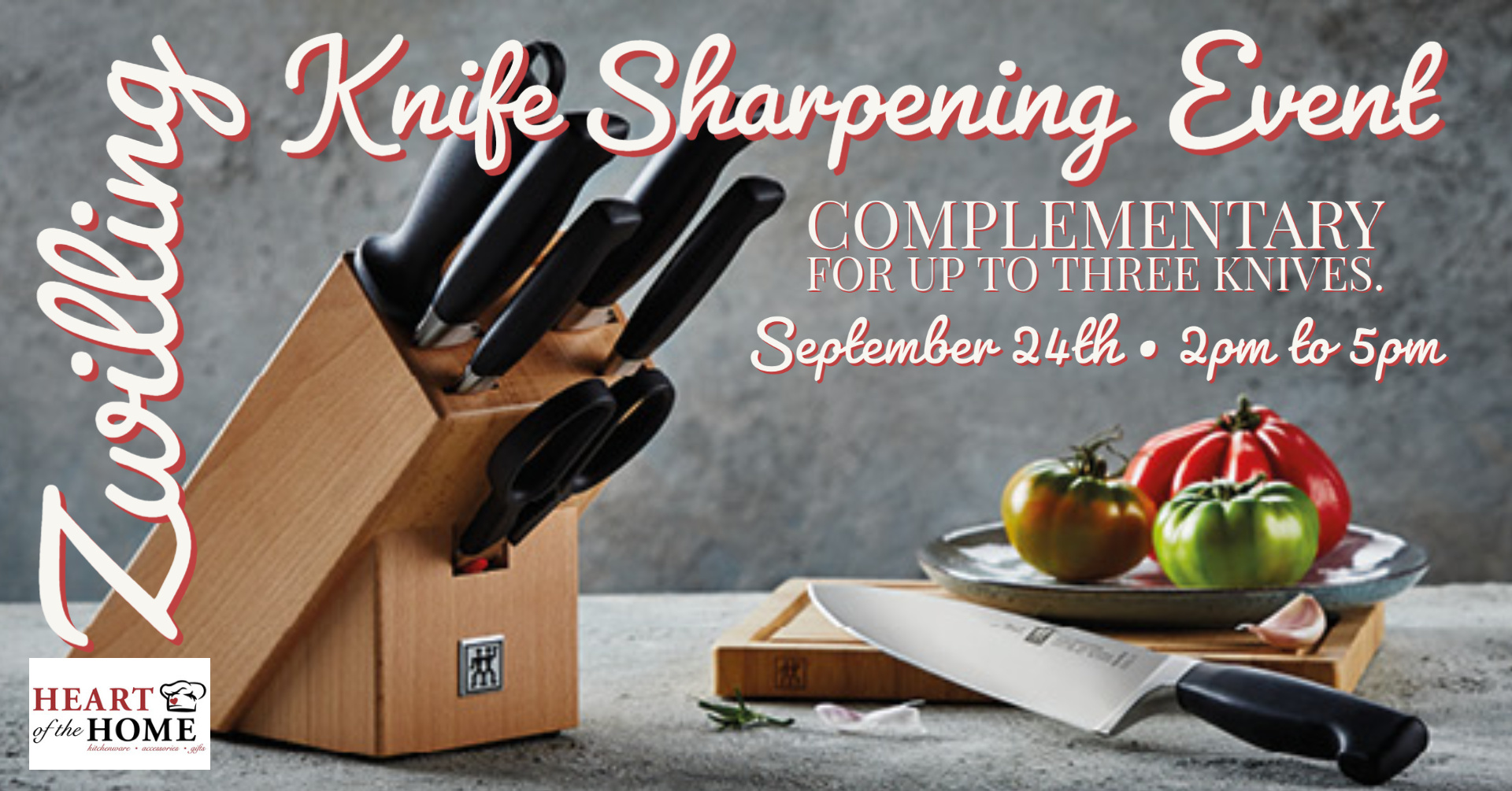 Zwilling Knife Sharpening Event at Heart of the Home YEG