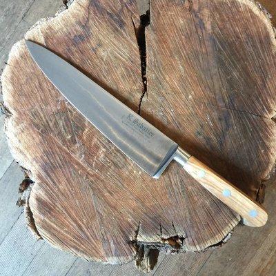 """K Sabatier 9"""" Chef 'Authentique' Carbon Steel Olive Handle"""