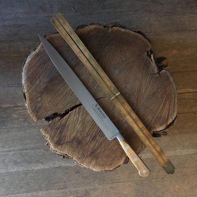 """K Sabatier 12"""" Slicer 'Authentique' Carbon Steel Olive Handle"""