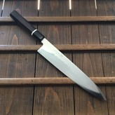 Yoshikazu Ikeda Honyaki 270mm Gyuto Oil Quench Shirogami #3 Ebony with Bone Spacer / Valentines Bigfaka Sale 15% Off